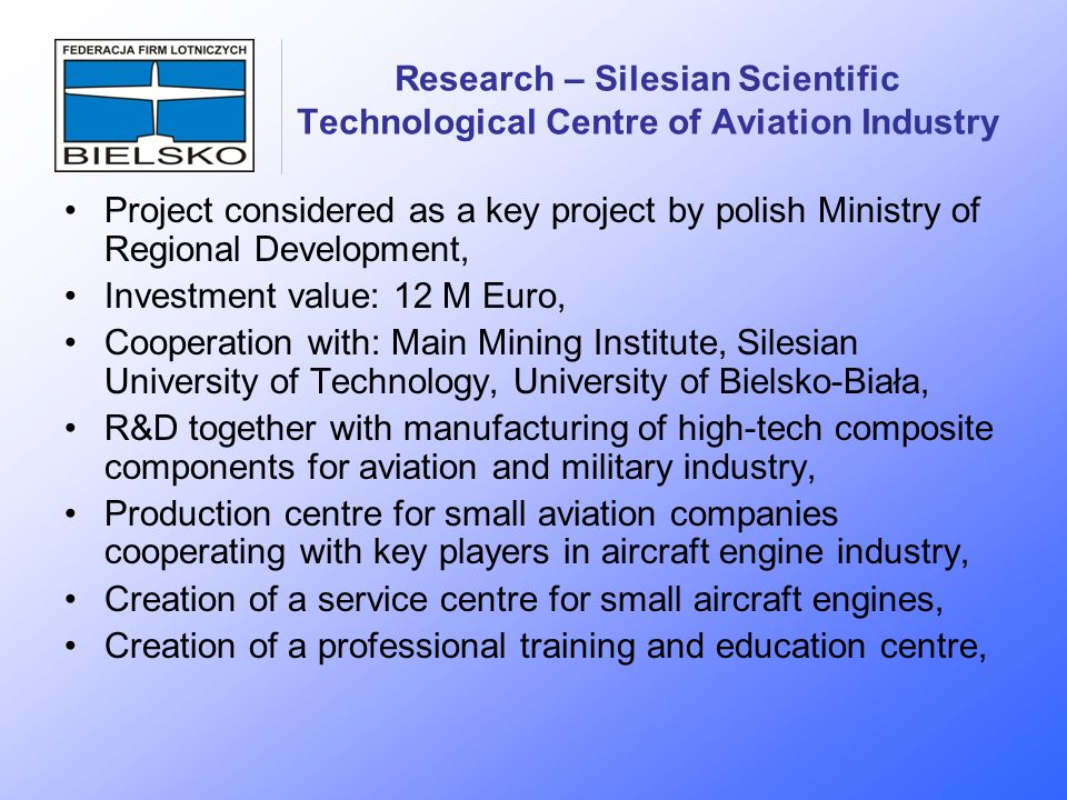 Research – Silesian Scientific Technological Centre of Aviation Industry