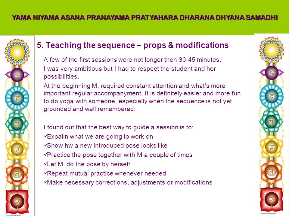 5. Teaching the sequence – props & modifications