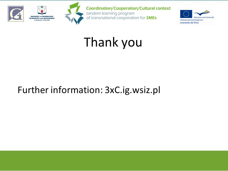 Thank you Further information: 3xC.ig.wsiz.pl
