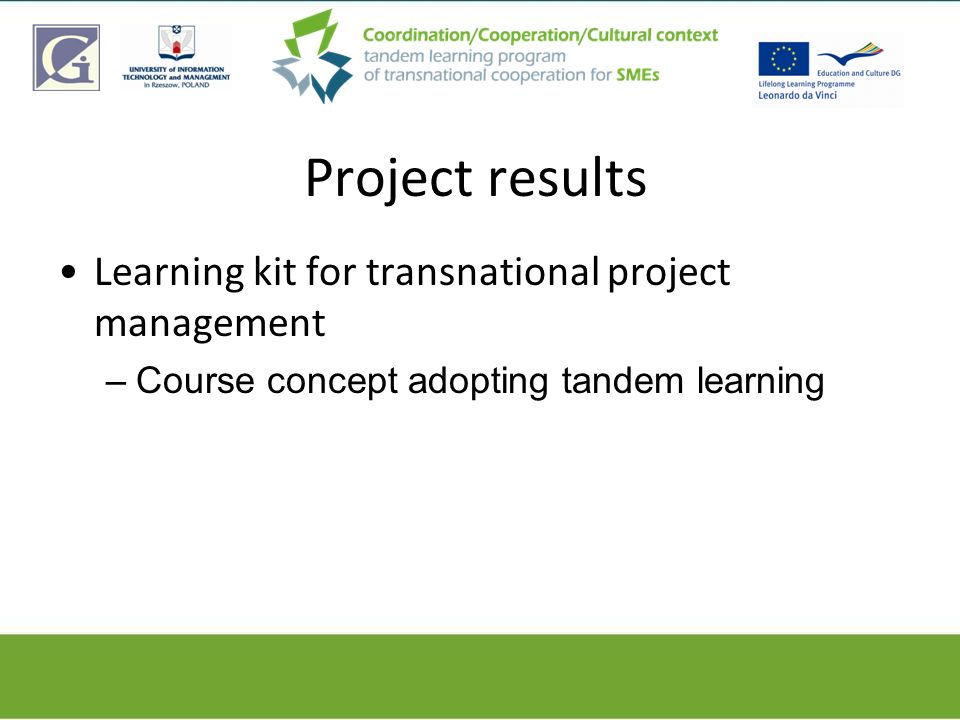 Project results Learning kit for transnational project management