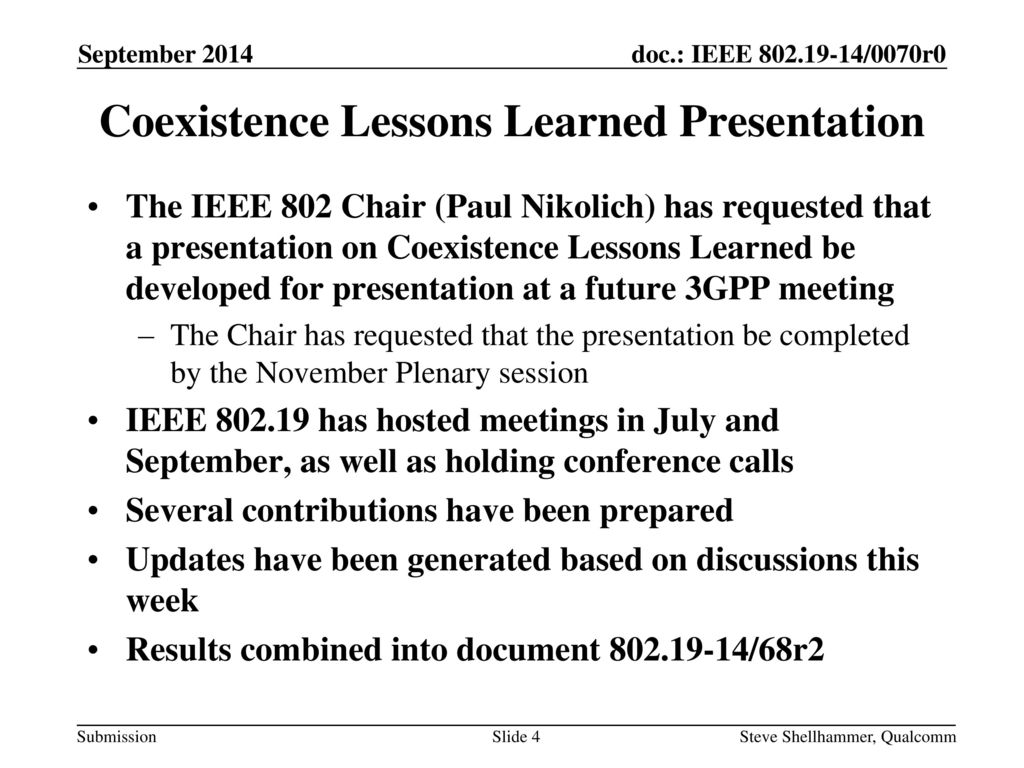 Coexistence Lessons Learned Presentation