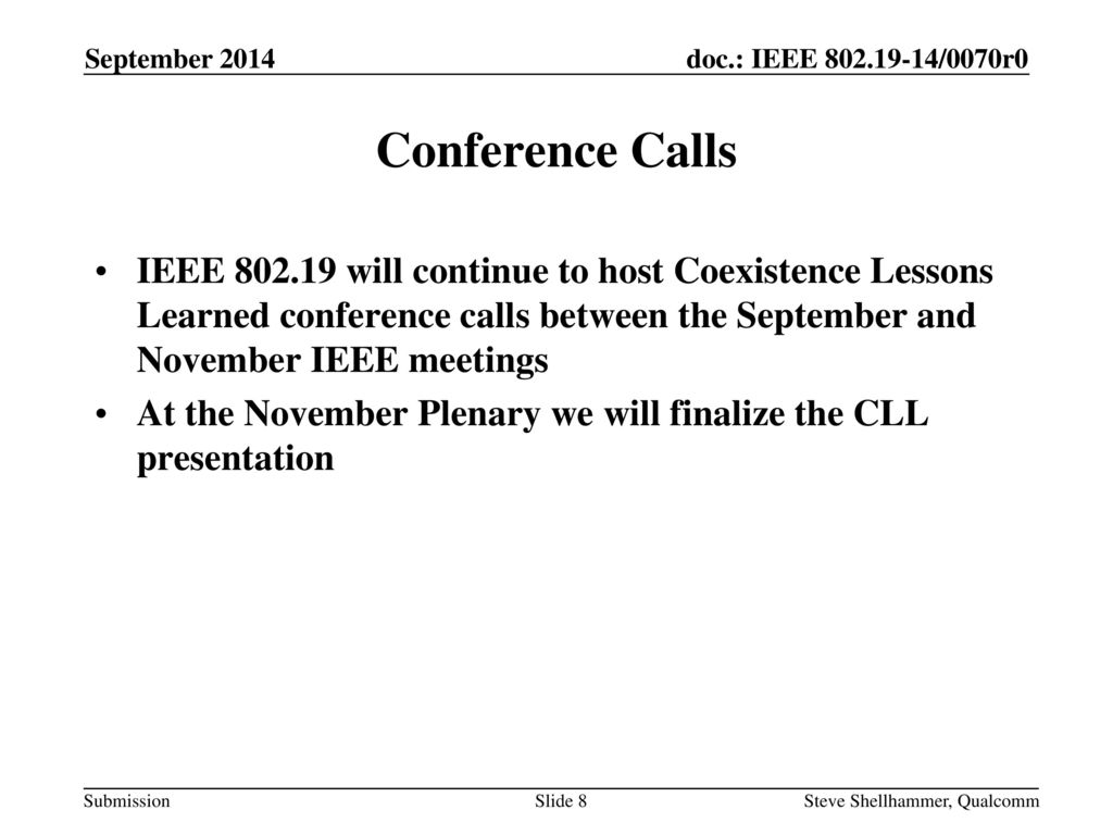 September 2014 Conference Calls.
