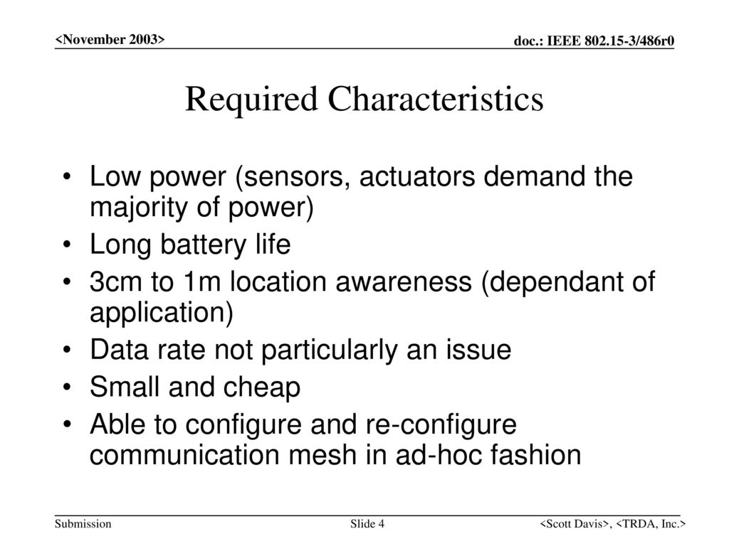 Required Characteristics