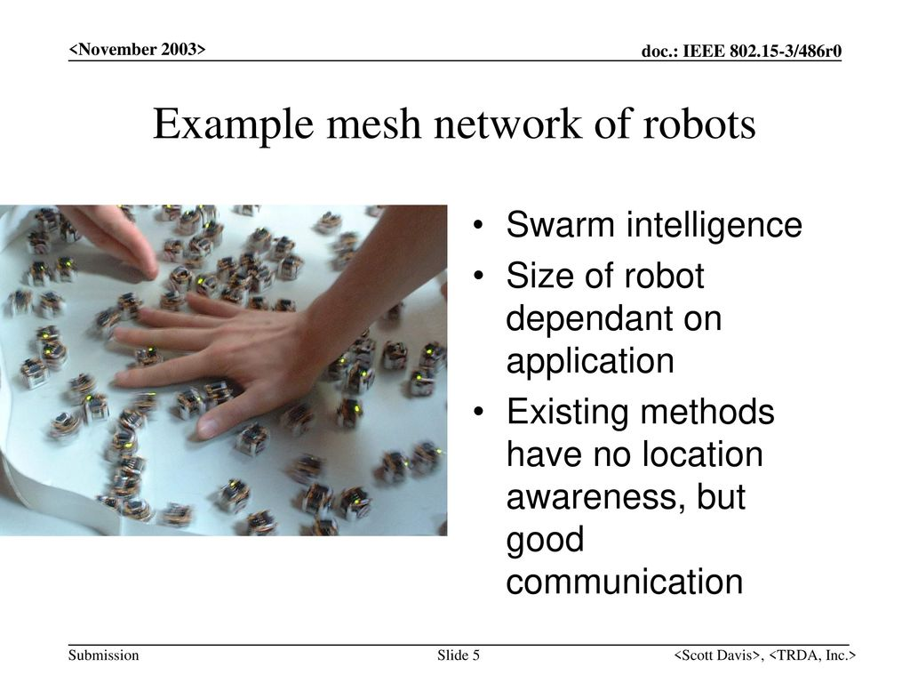 Example mesh network of robots