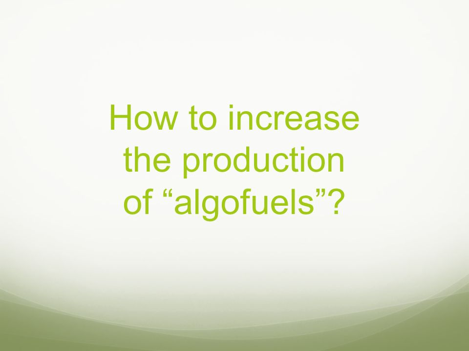 How to increase the production of algofuels