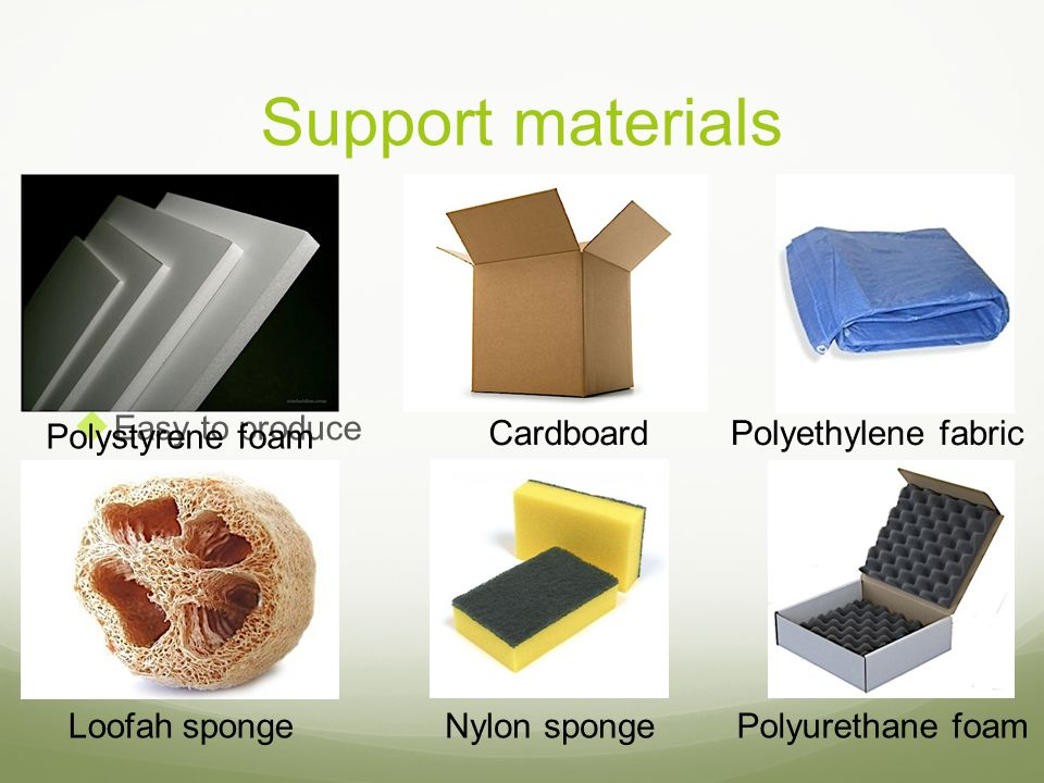 Support materials Inexpensive Reusable Easy to produce Easy to obtain