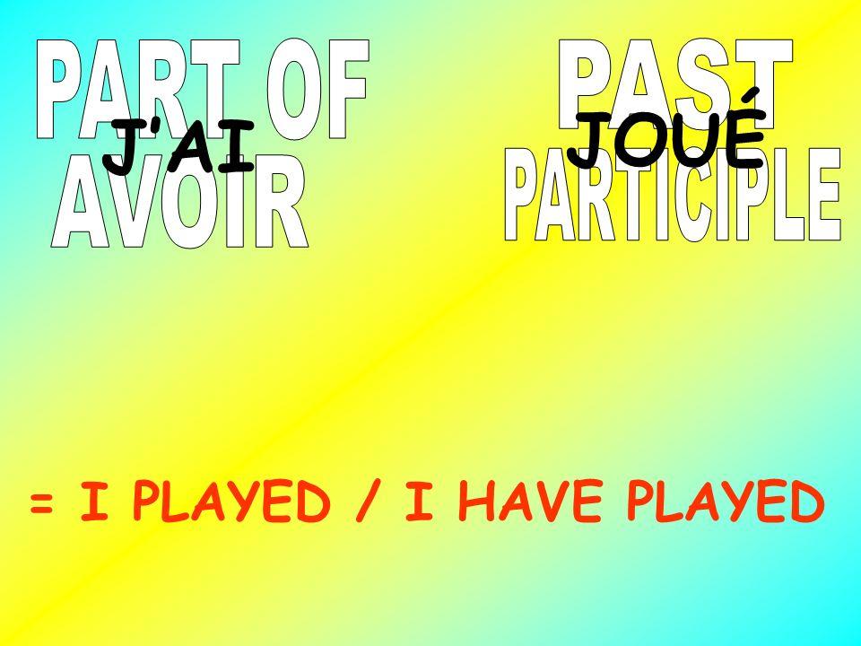PART OF PAST JOUÉ J'AI PARTICIPLE AVOIR = I PLAYED / I HAVE PLAYED