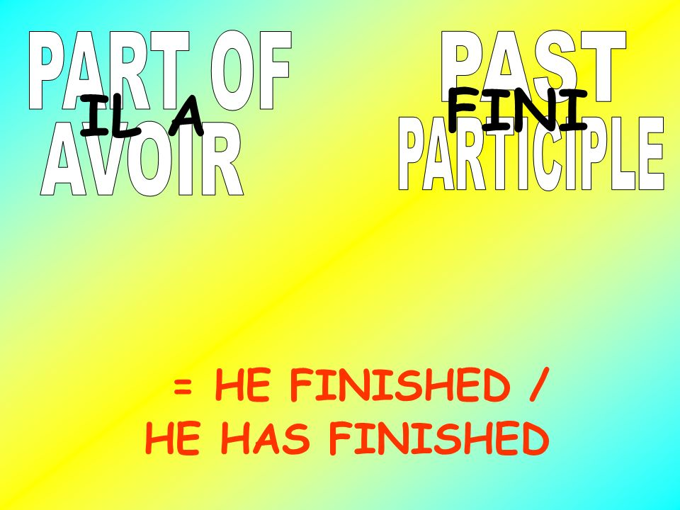 FINI IL A = HE FINISHED / HE HAS FINISHED PART OF PAST PARTICIPLE