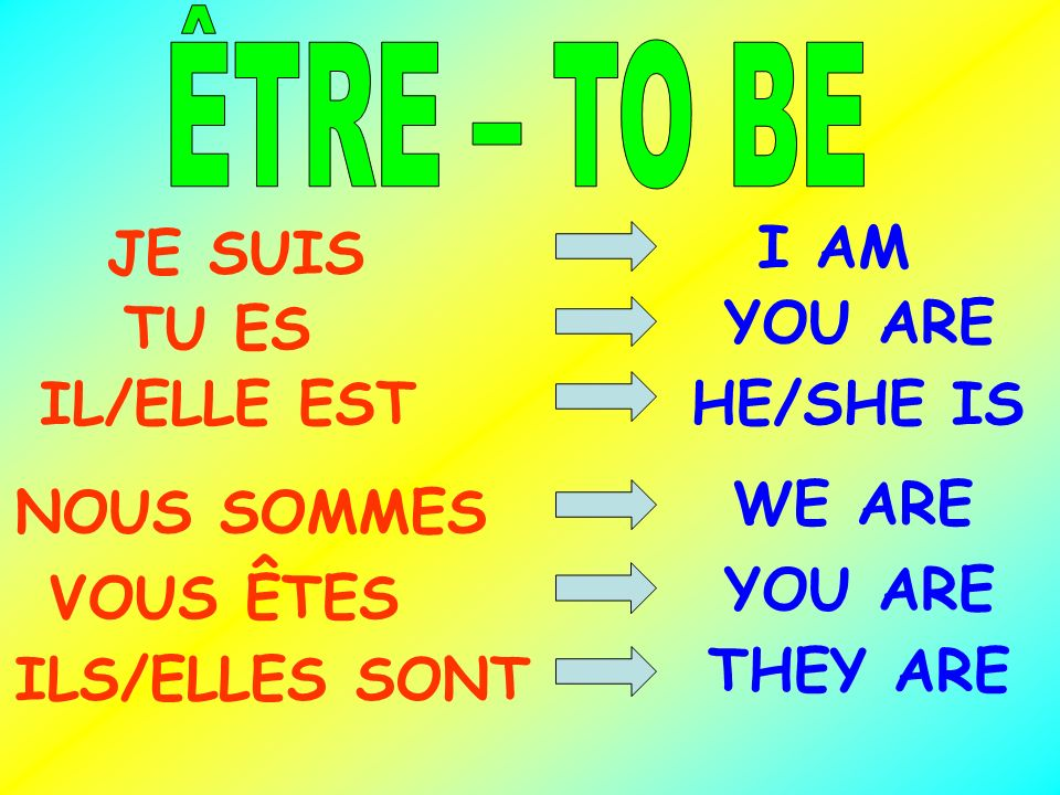 JE SUIS I AM TU ES YOU ARE IL/ELLE EST HE/SHE IS WE ARE NOUS SOMMES