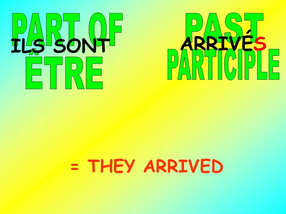 PART OF PAST ARRIVÉS ILS SONT ÊTRE PARTICIPLE = THEY ARRIVED