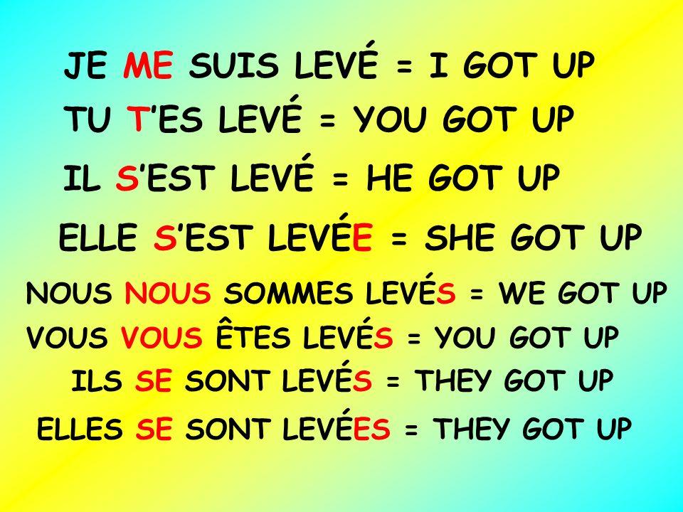 ELLE S'EST LEVÉE = SHE GOT UP