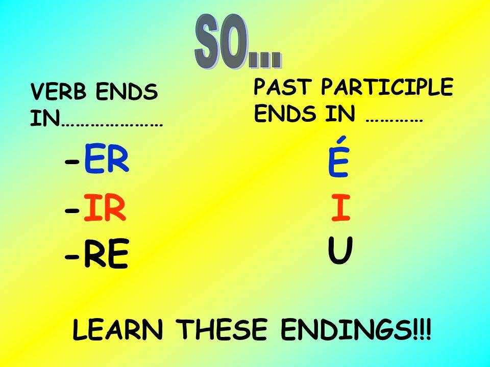 -ER É -IR I U -RE LEARN THESE ENDINGS!!! SO...