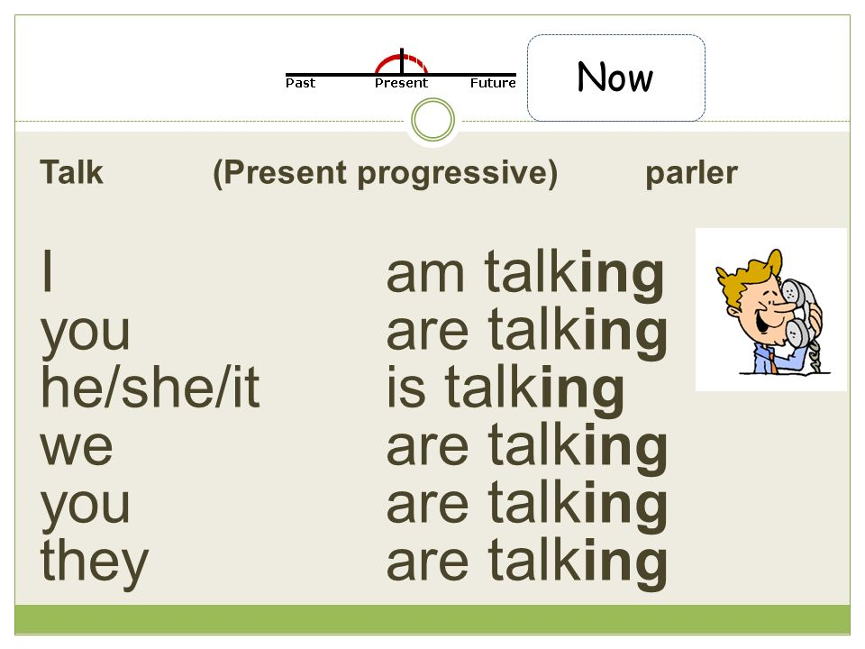 Talk (Present progressive) parler