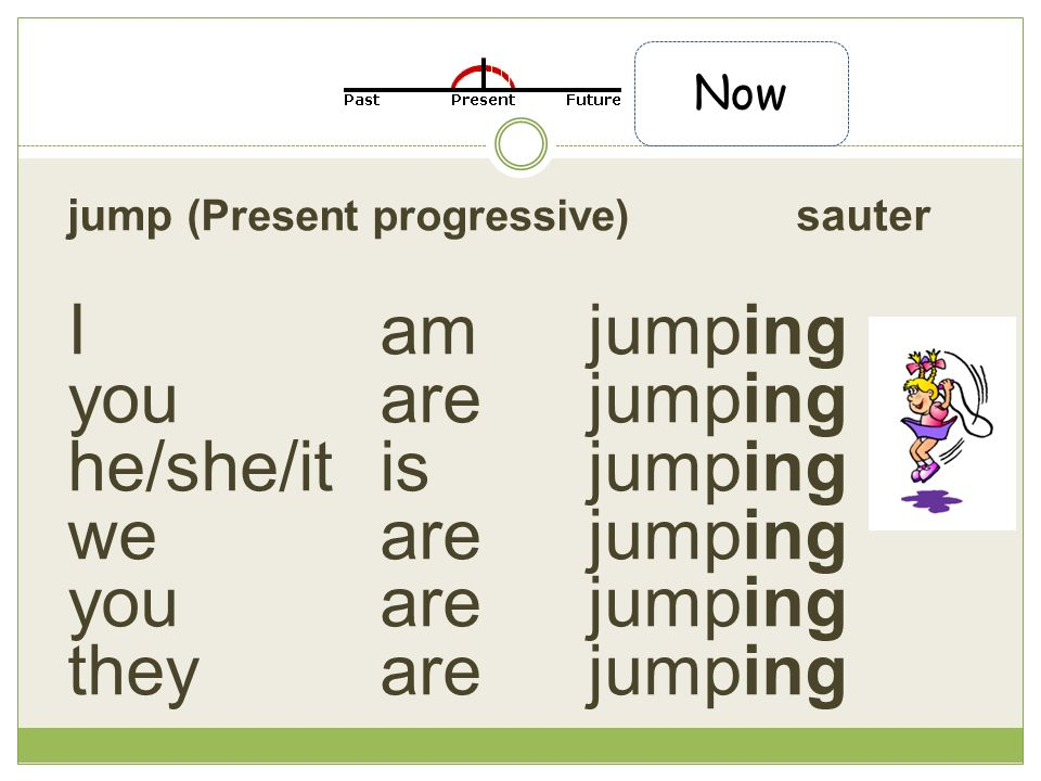 jump (Present progressive) sauter