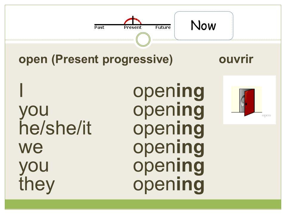 open (Present progressive) ouvrir