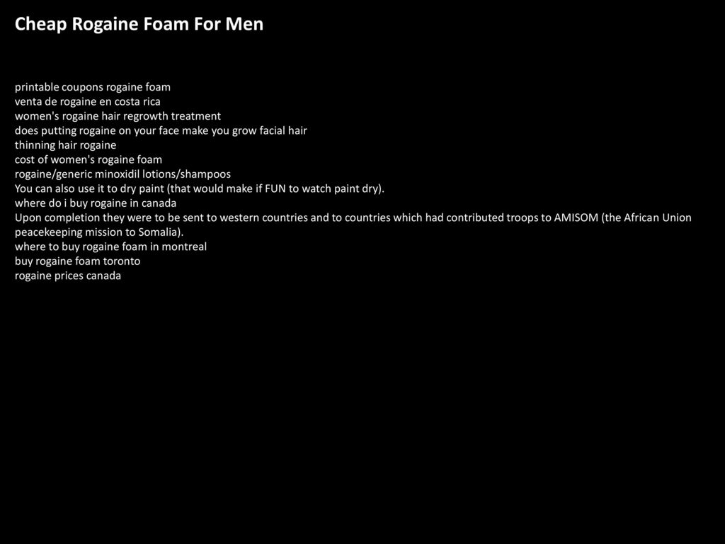Rogaine foam sexual side effects