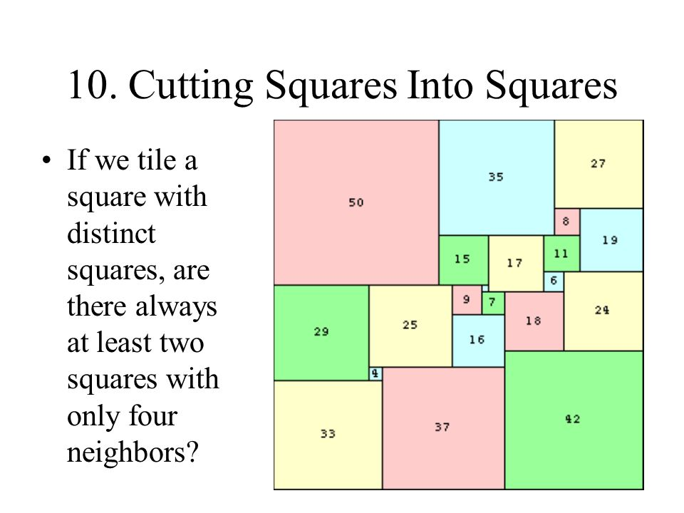10. Cutting Squares Into Squares