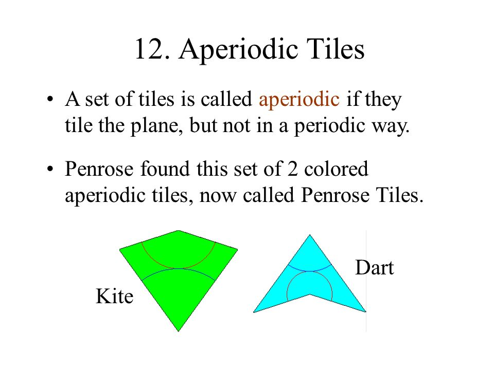 12. Aperiodic Tiles A set of tiles is called aperiodic if they tile the plane, but not in a periodic way.