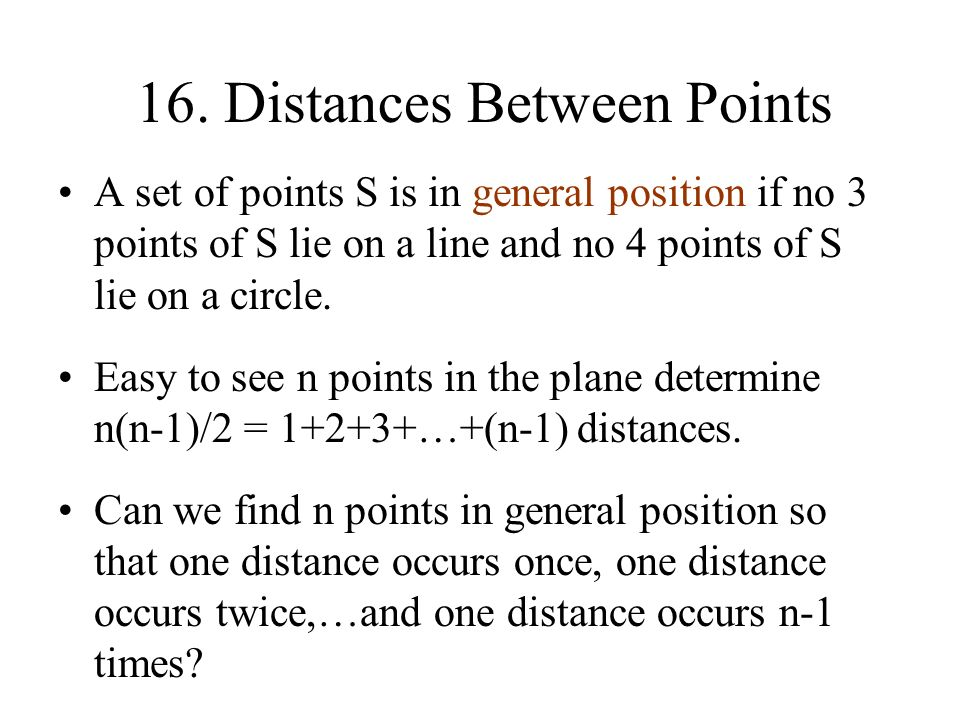 16. Distances Between Points