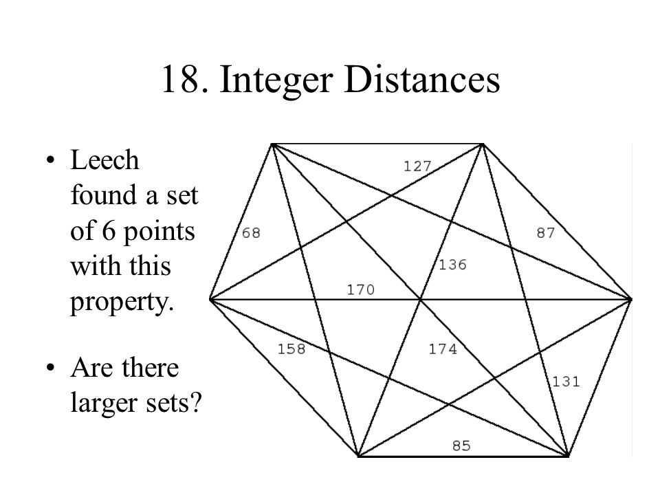 18. Integer Distances Leech found a set of 6 points with this property. Are there larger sets