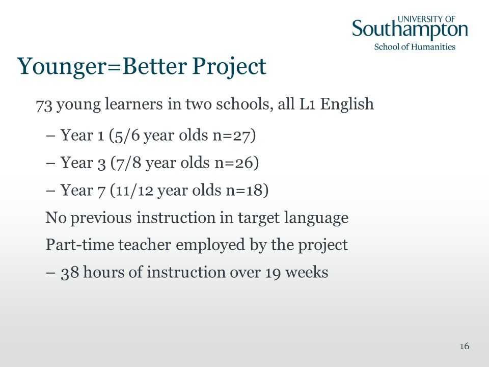 Younger=Better Project