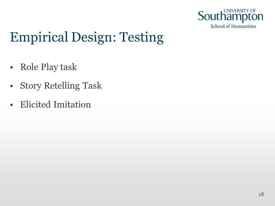 Empirical Design: Testing