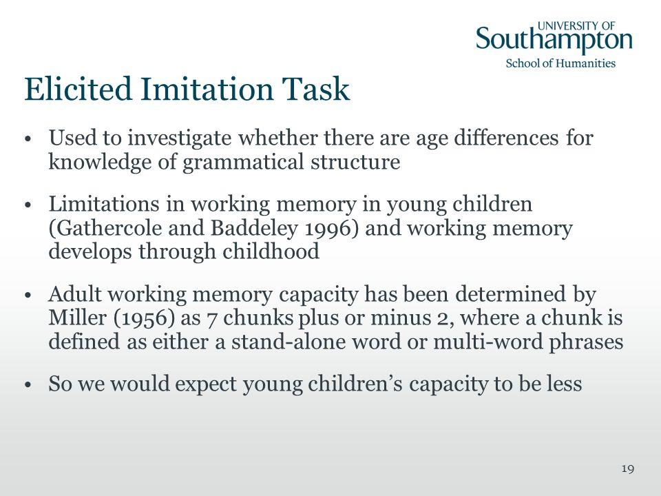 Elicited Imitation Task