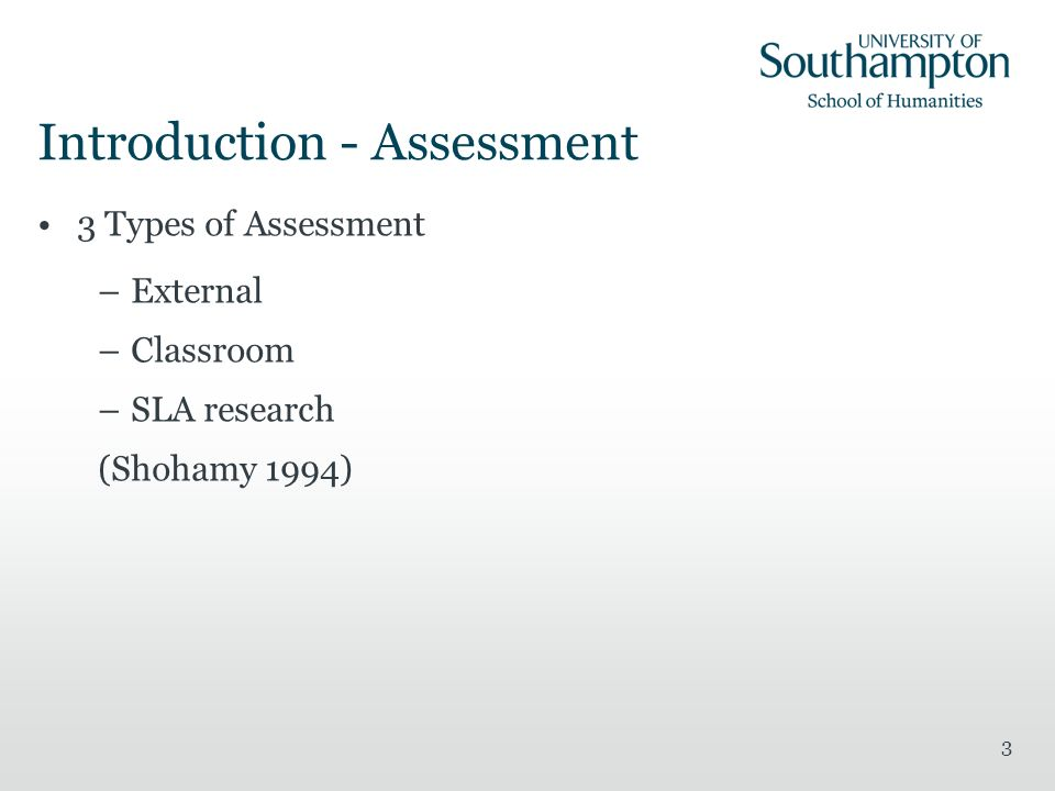 Introduction - Assessment