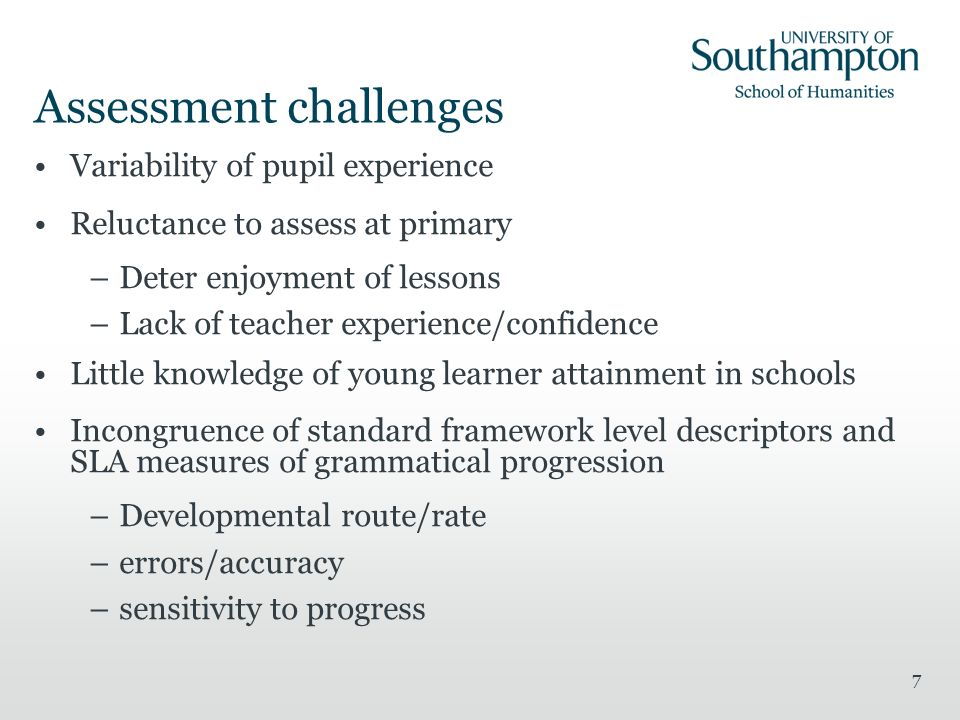 Assessment challenges