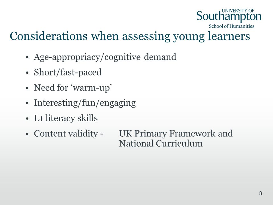 Considerations when assessing young learners