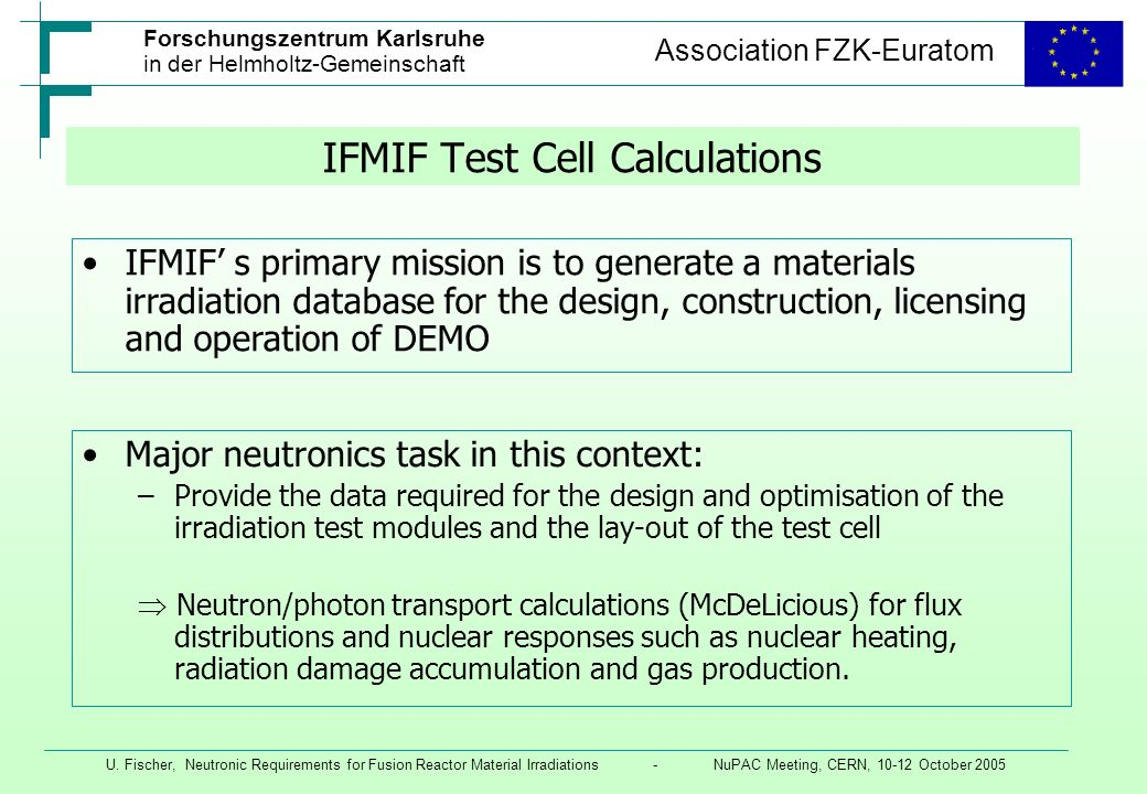 IFMIF Test Cell Calculations