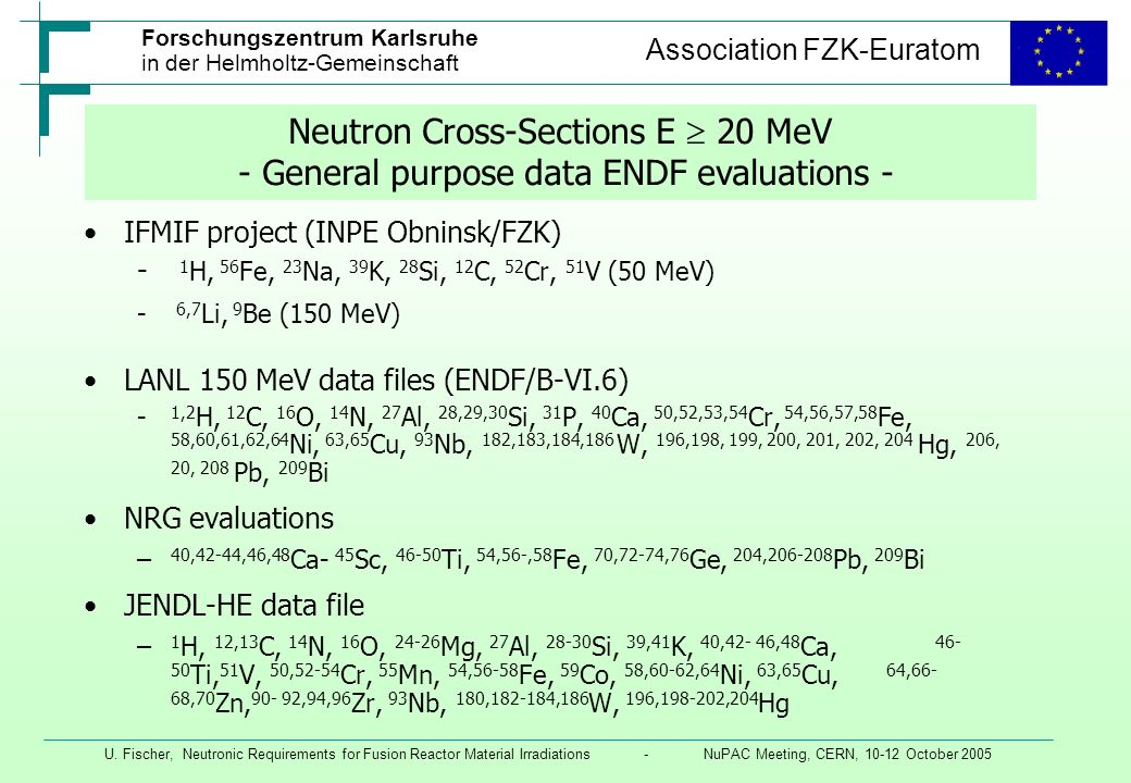 Neutron Cross-Sections E  20 MeV - General purpose data ENDF evaluations -
