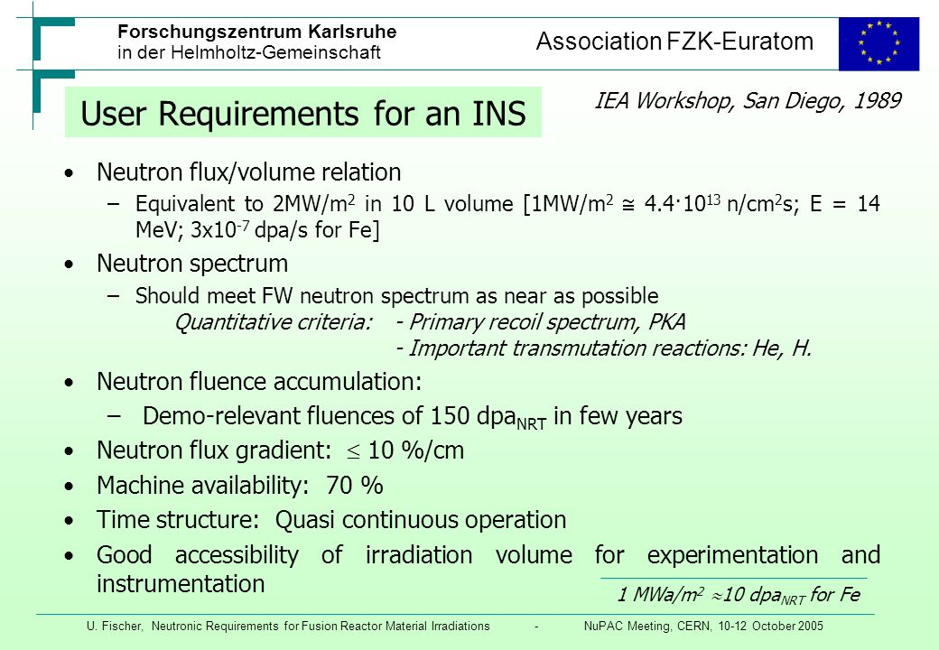 User Requirements for an INS