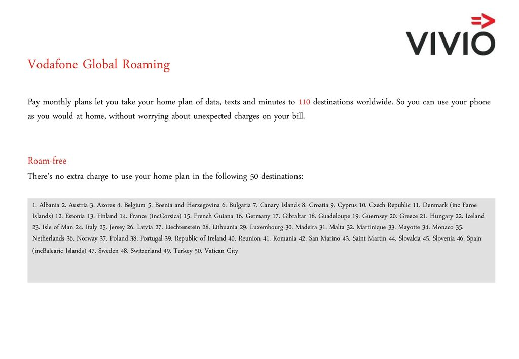 Vodafone Roaming Charges - ppt download