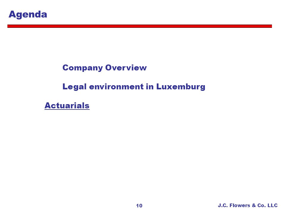 Agenda Company Overview Legal environment in Luxemburg Actuarials