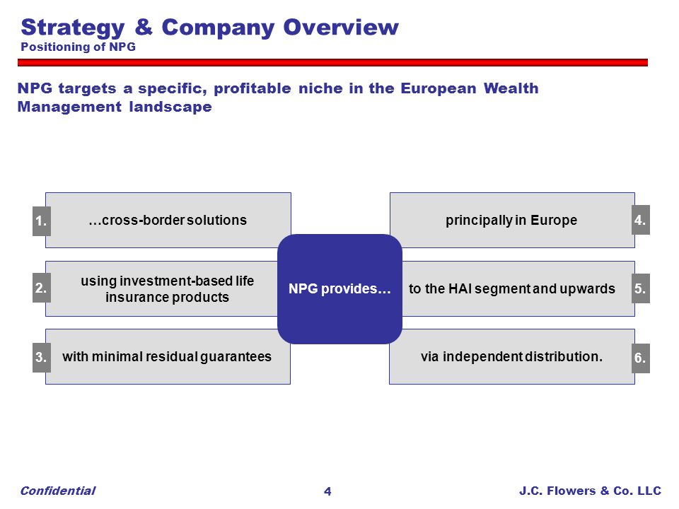 Strategy & Company Overview Positioning of NPG