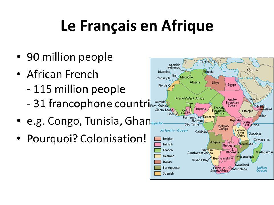 Le Français en Afrique 90 million people