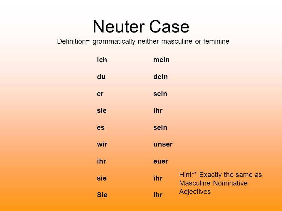 Neuter Case Definition= grammatically neither masculine or feminine