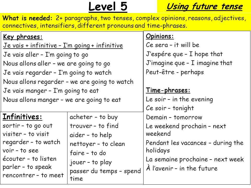 Level 5 Using future tense Infinitives: