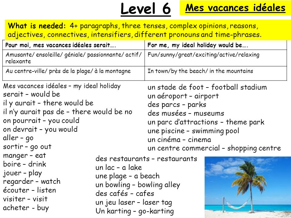 Level 6 Mes vacances idéales