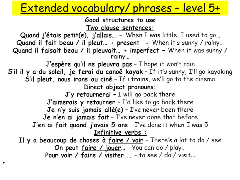 Extended vocabulary/ phrases – level 5+