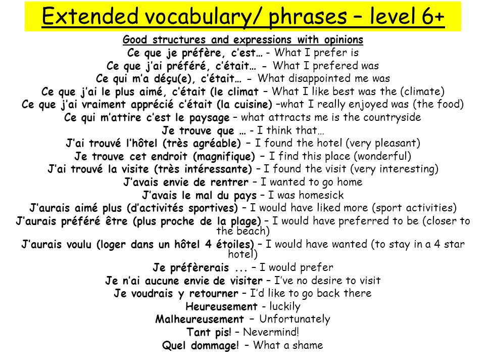 Extended vocabulary/ phrases – level 6+