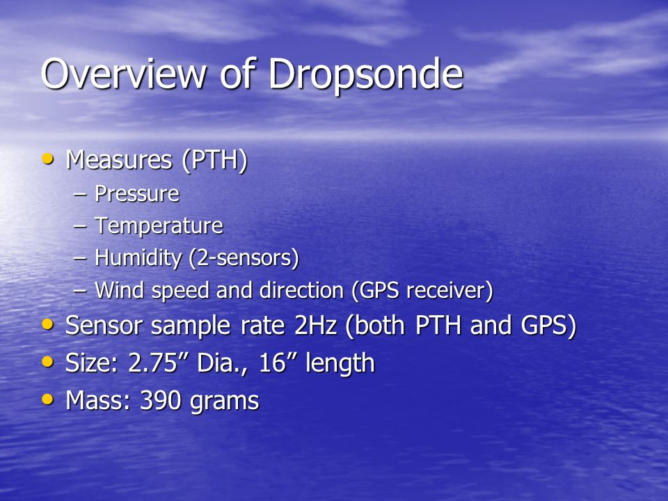 Overview of Dropsonde Measures (PTH)