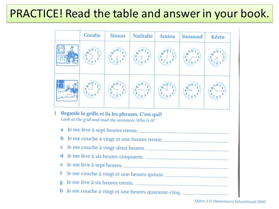 PRACTICE! Read the table and answer in your book.