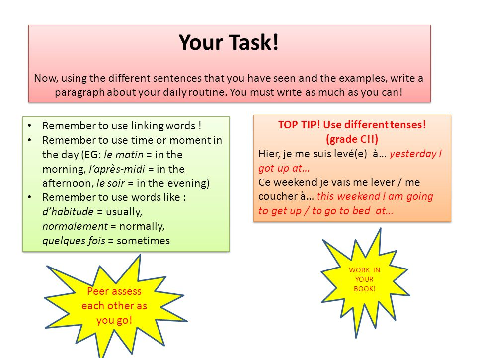 TOP TIP! Use different tenses!