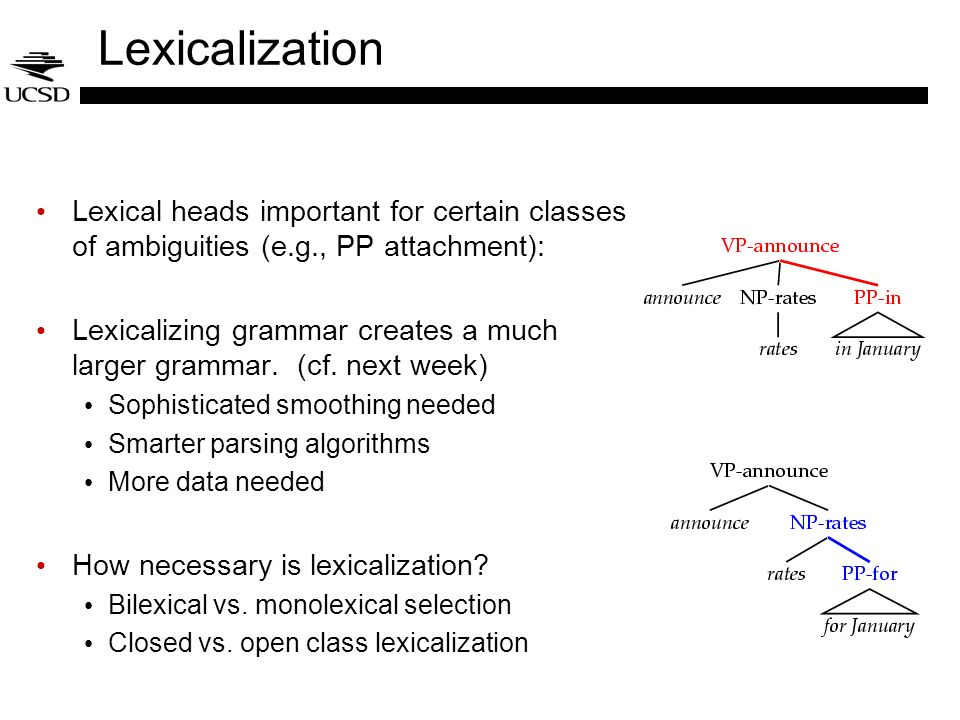 Lexicalization Lexical heads important for certain classes of ambiguities (e.g., PP attachment):