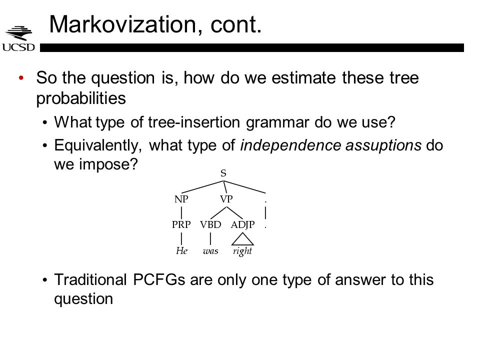 Markovization, cont. So the question is, how do we estimate these tree probabilities. What type of tree-insertion grammar do we use