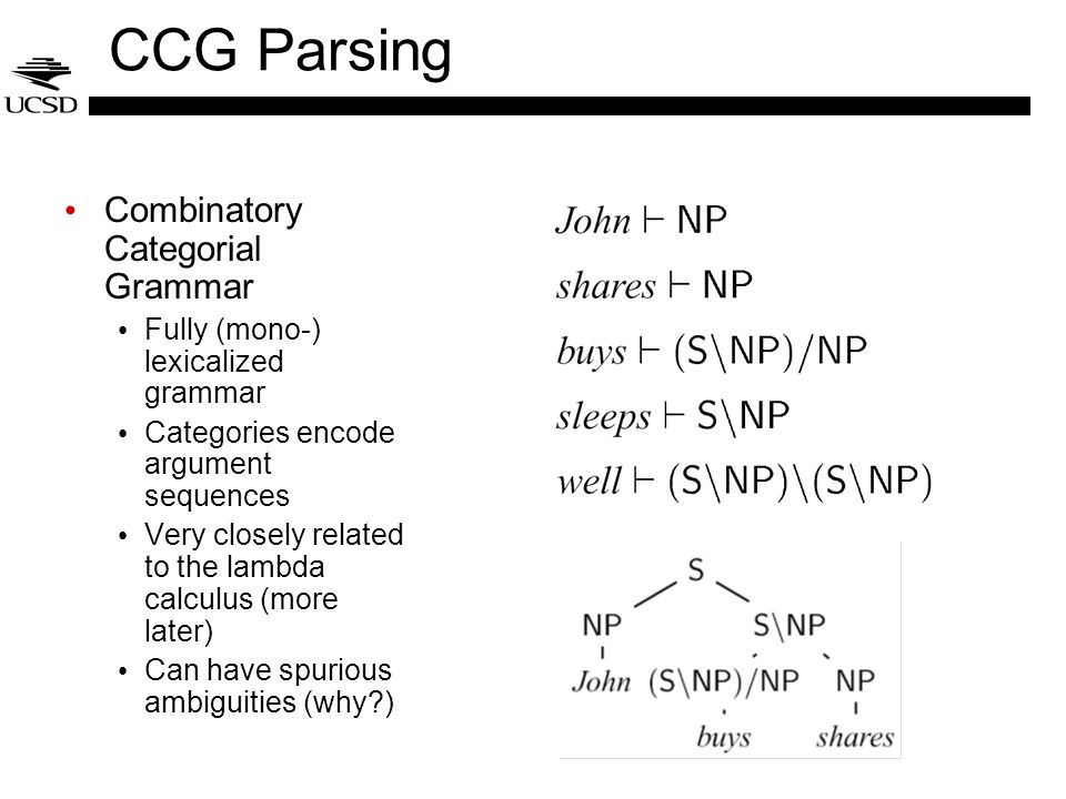 CCG Parsing Combinatory Categorial Grammar