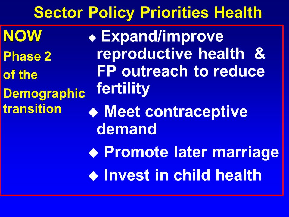 Sector Policy Priorities Health