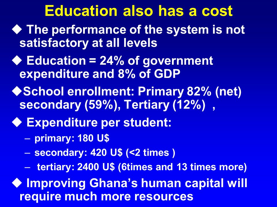 Education also has a cost